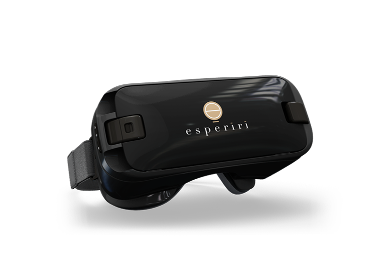 Virtual Reality visor with Esperiri Milano logo for Interior Design Experience