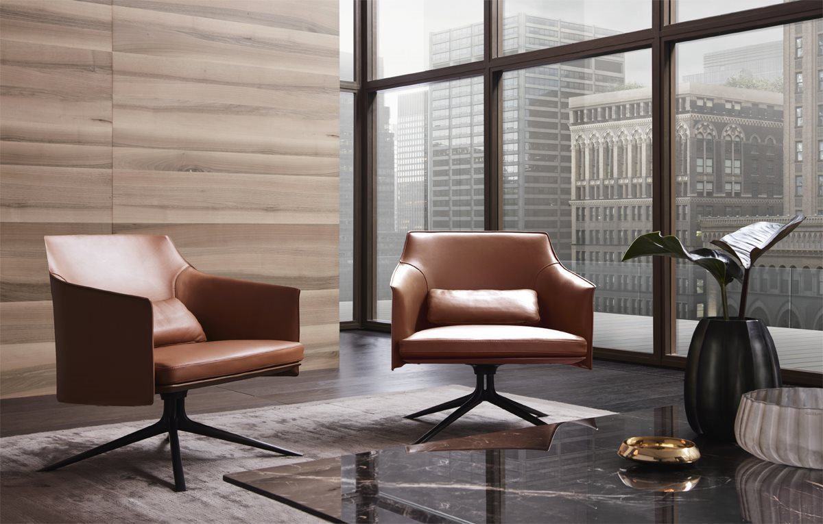 Italian Furniture in London and 12 Best Italian Furniture Stores with office interior featuring the Poliform furniture brand's Standford armchair