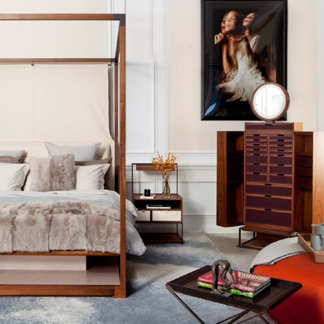 Ira Bed and night table by Giorgetti Italian Furniture Company