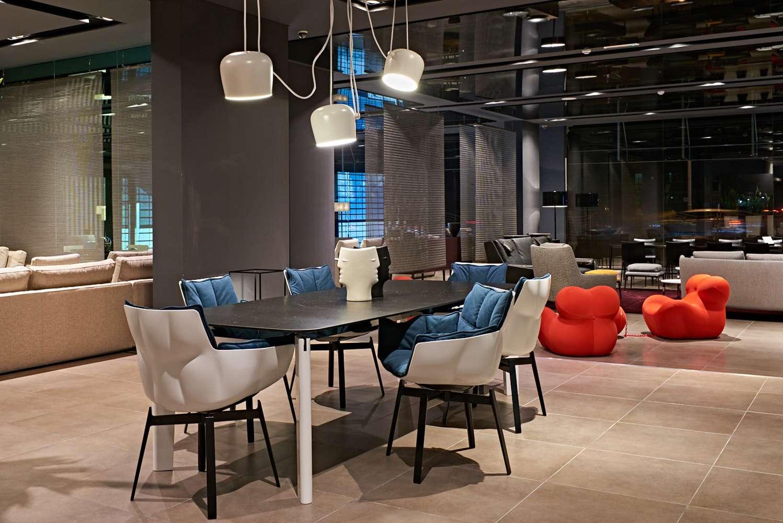 interior layout of B&B Italia funiture showroom distributing Italian furniture in dubai