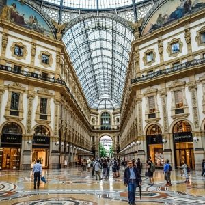 View of the floor, building, and ceiling of Milan's Galleria Vittorio Emanuele II