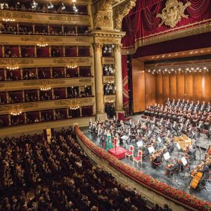 A red and gold detailed interior of Teatro alla Scala in Milan