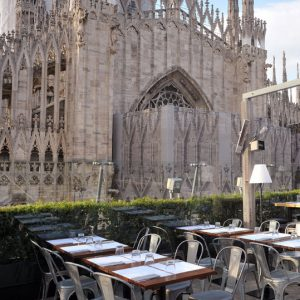 View of the Milan cathedral from the rooftop terrace of the Rinascente department store