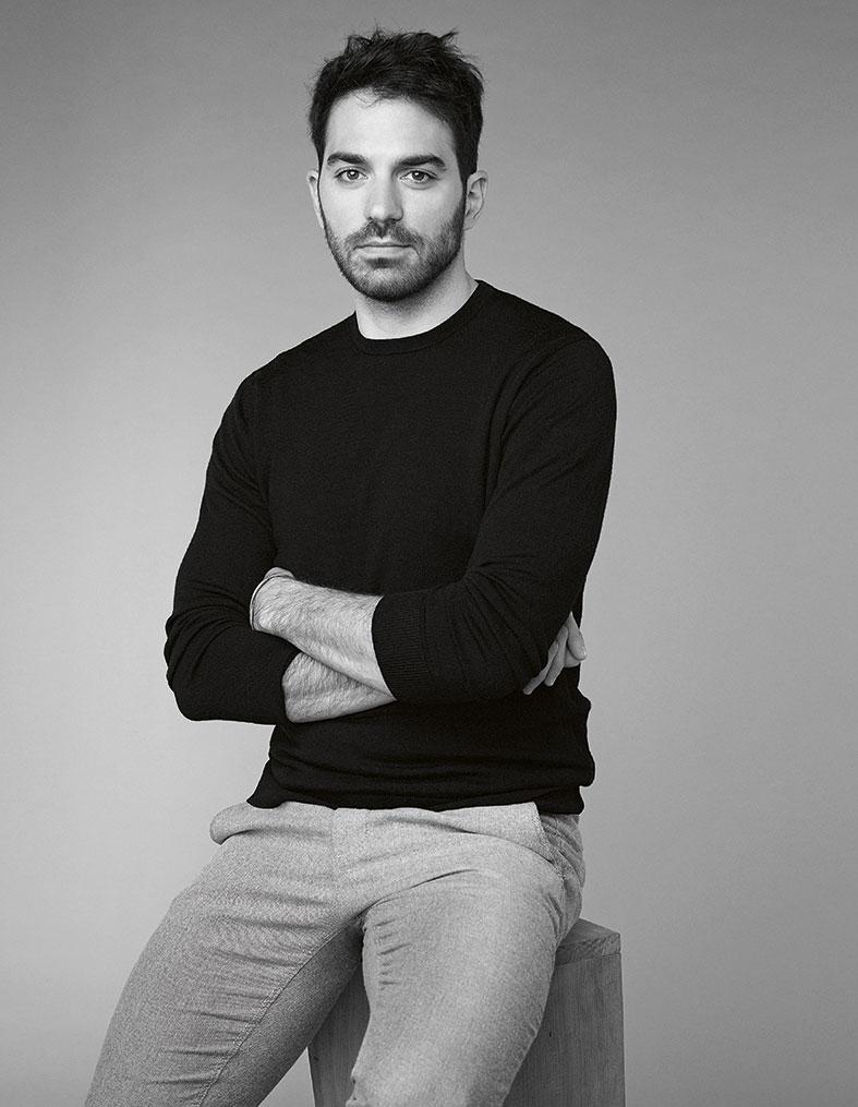 portrait of a man, designer carlo massoud in black and white