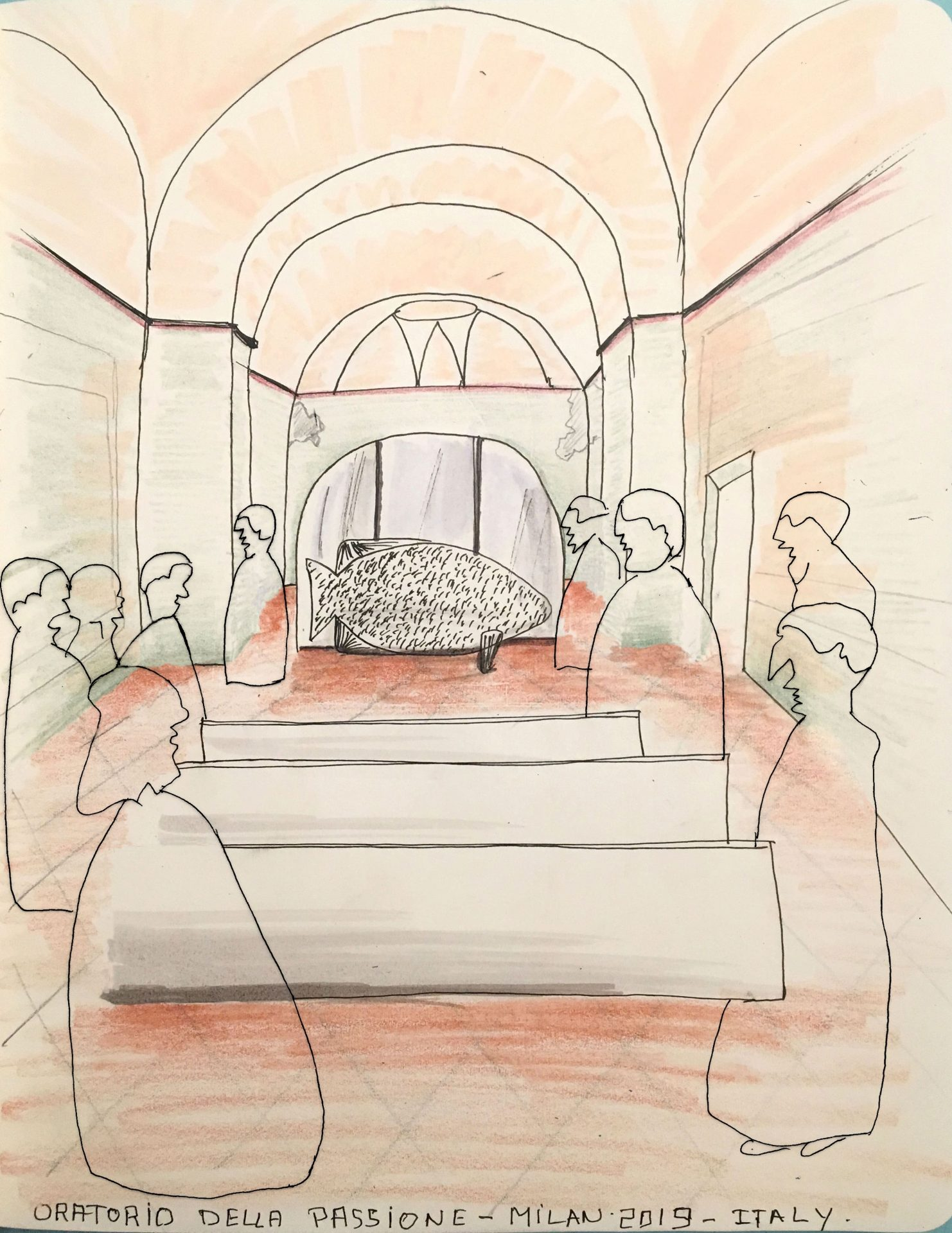 a drawing with outlines of a design plan inside a church