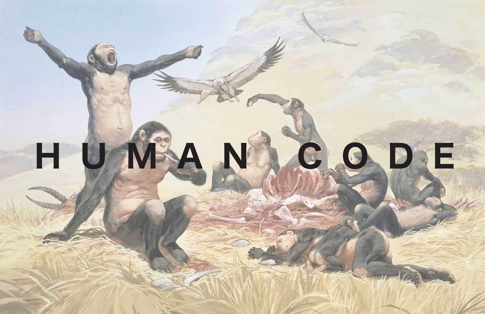 scene of chimpanzees acting as men behind the text of Human Code