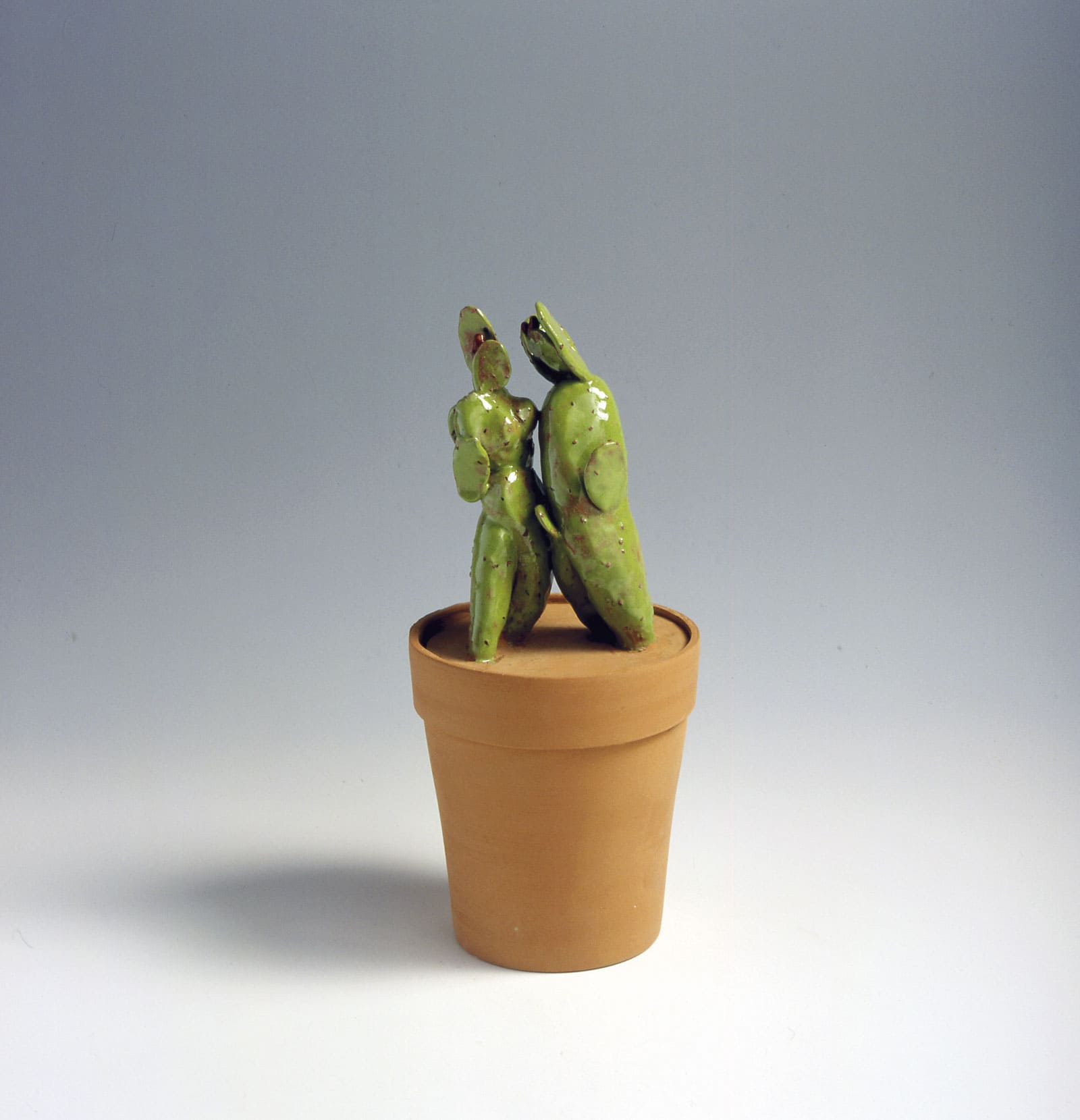 brown ceramic pot with a ceramic green cactus planted inside