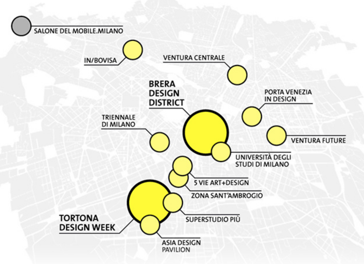 gray map of milan with yellow dots denoting design districts in milan