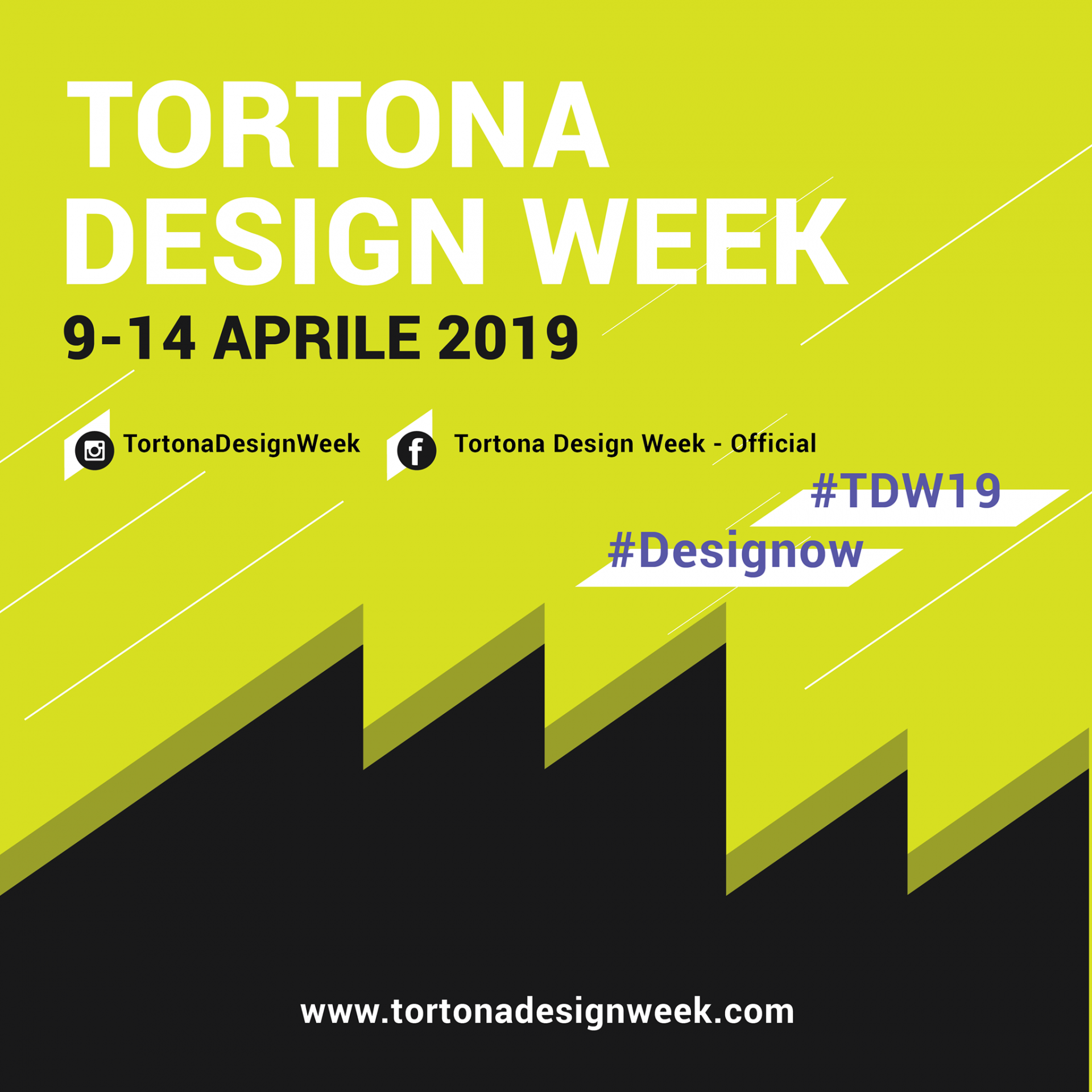 black and lime green advertisement for tortona design week