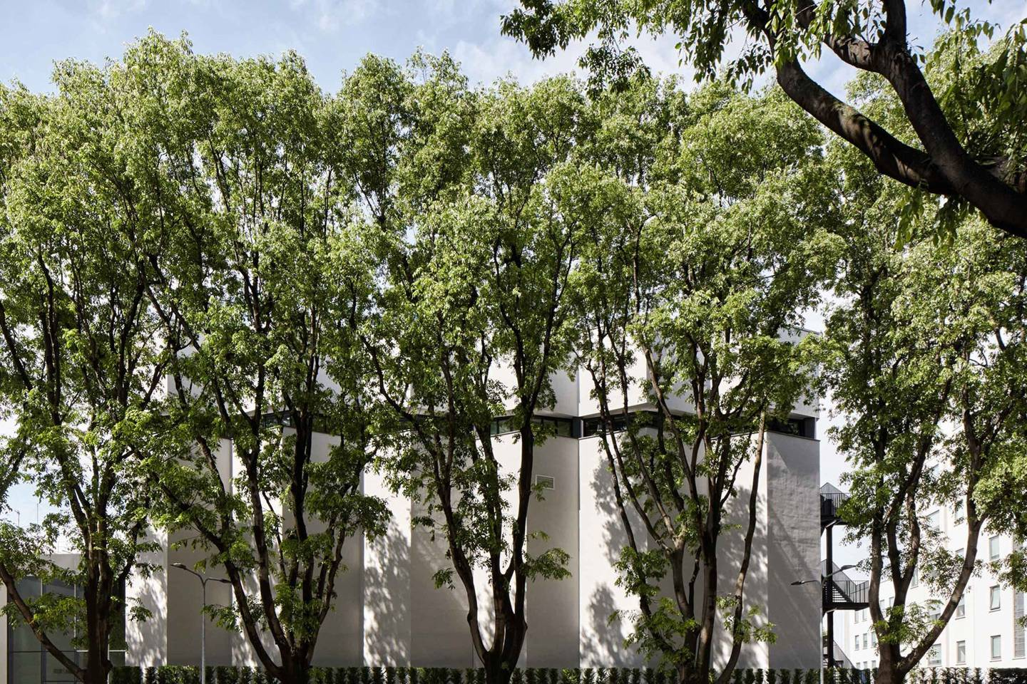 exterior image of armani silos building in milan with a row of green trees in front of a white building