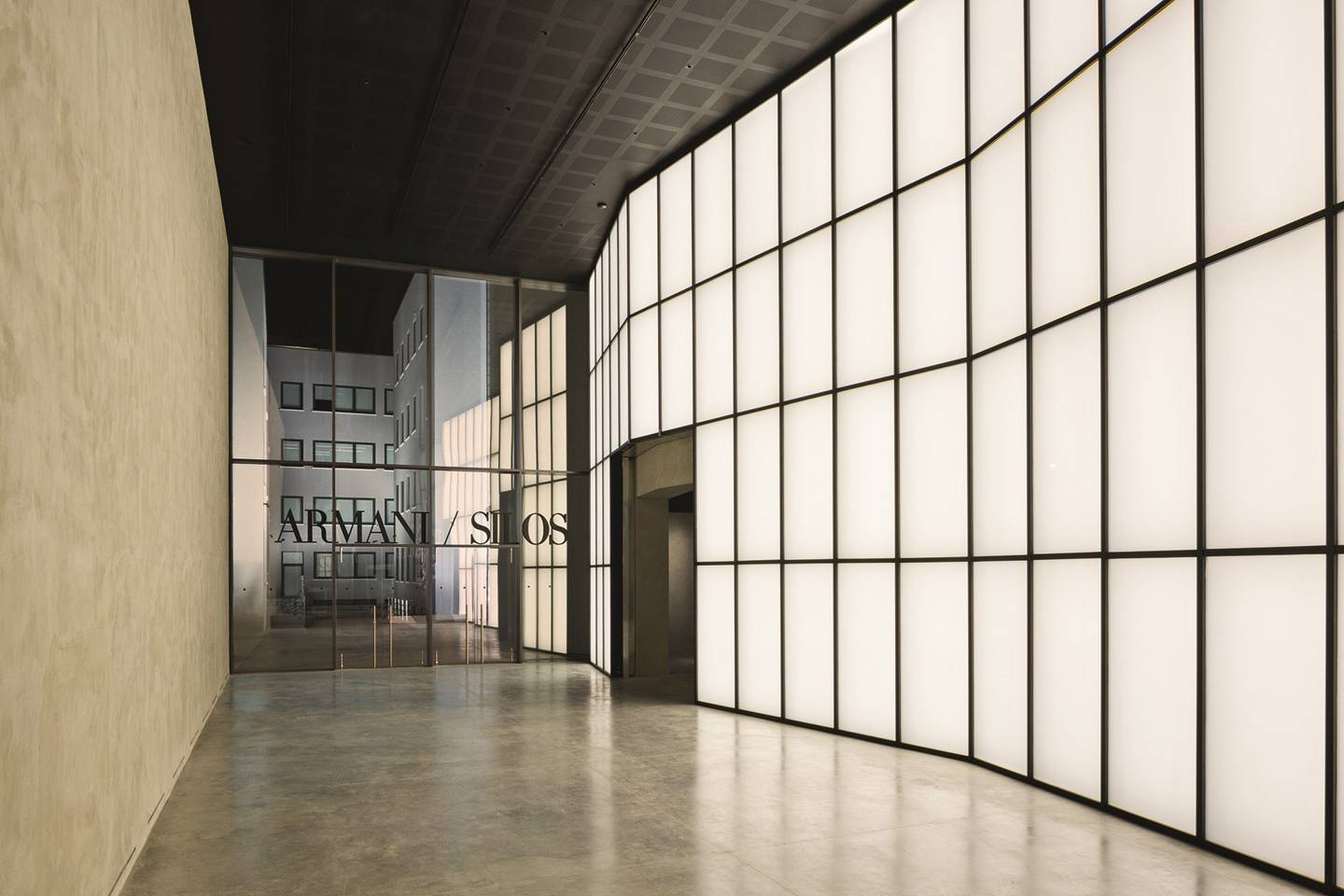 interior image of armani silos in milan with modern, industrial architecture