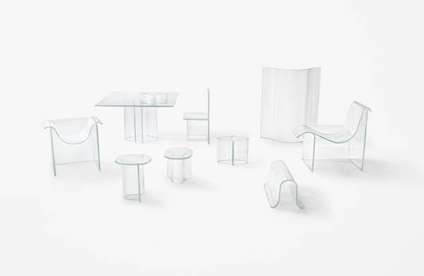 glass furniture and furnishings on a white background