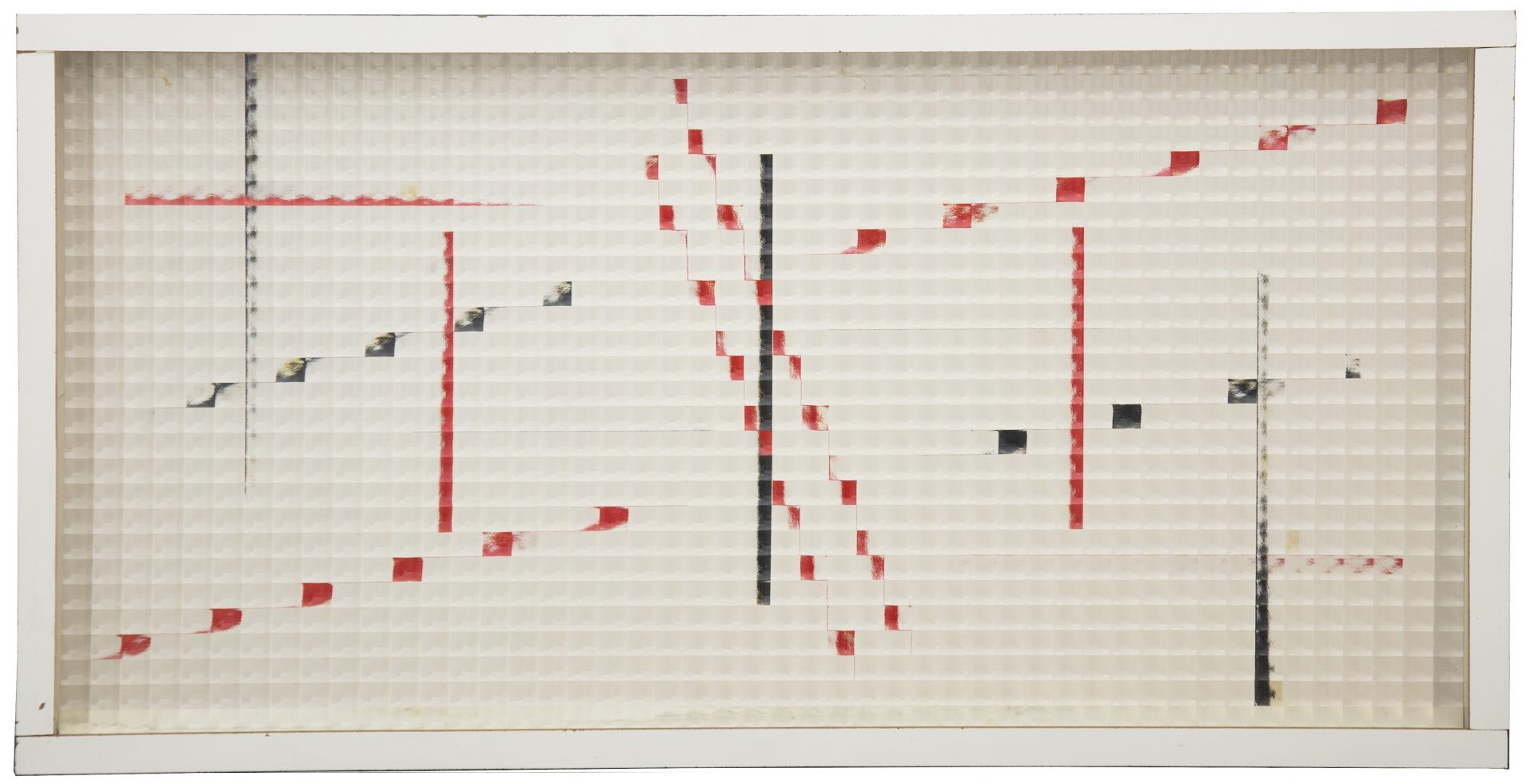 contemporary artwork with red, white, and black geometric lines
