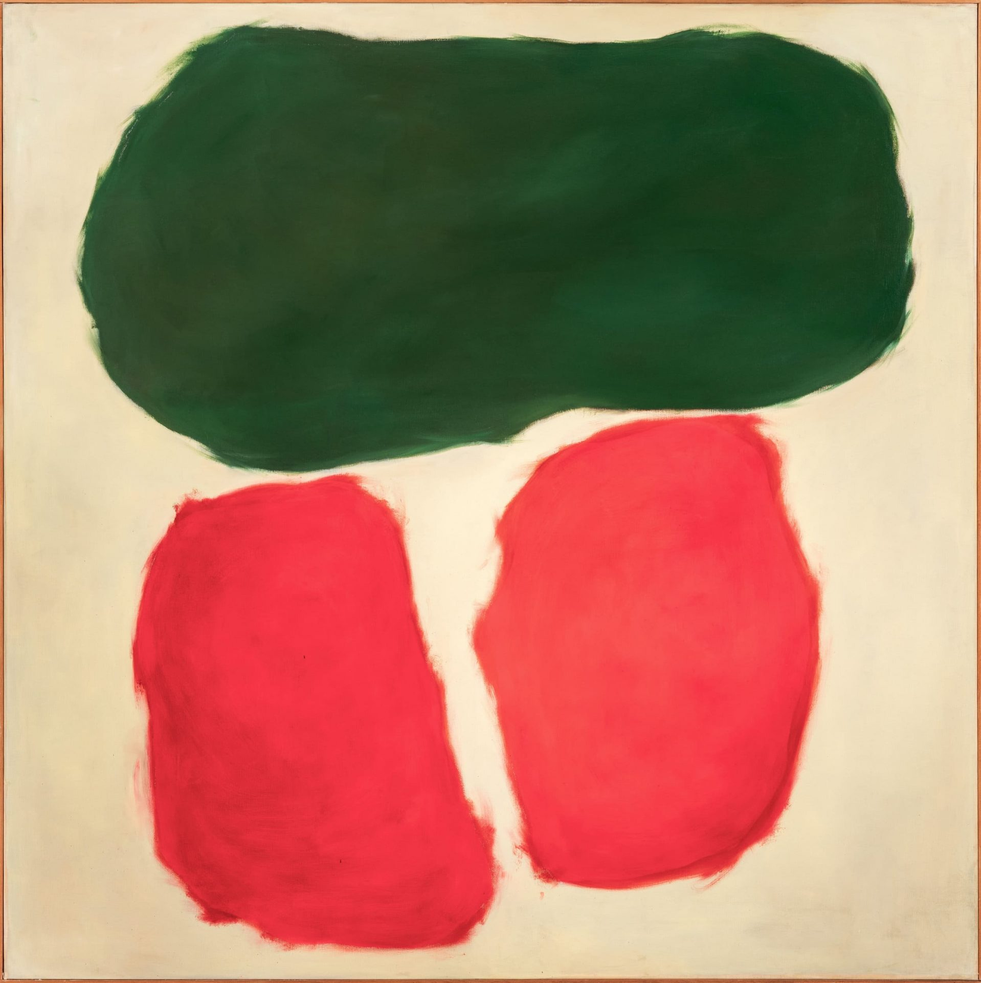 green abstract shape above two red abstract shapes