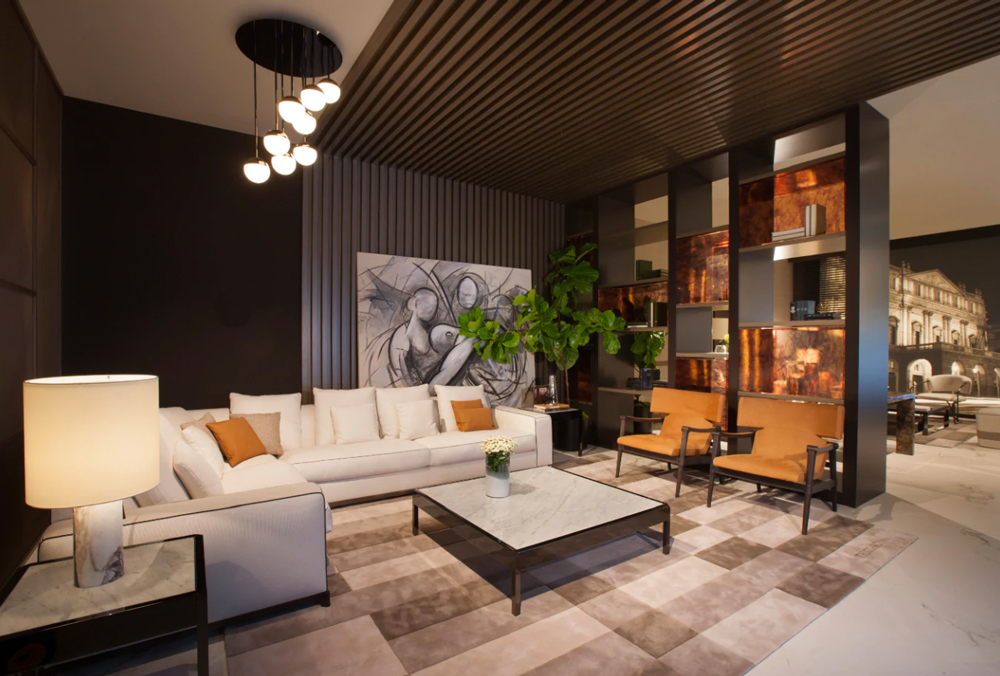 luxury living los angeles interiors among the Italian furniture stores in Los angeles display a luxury sofa in white fabric