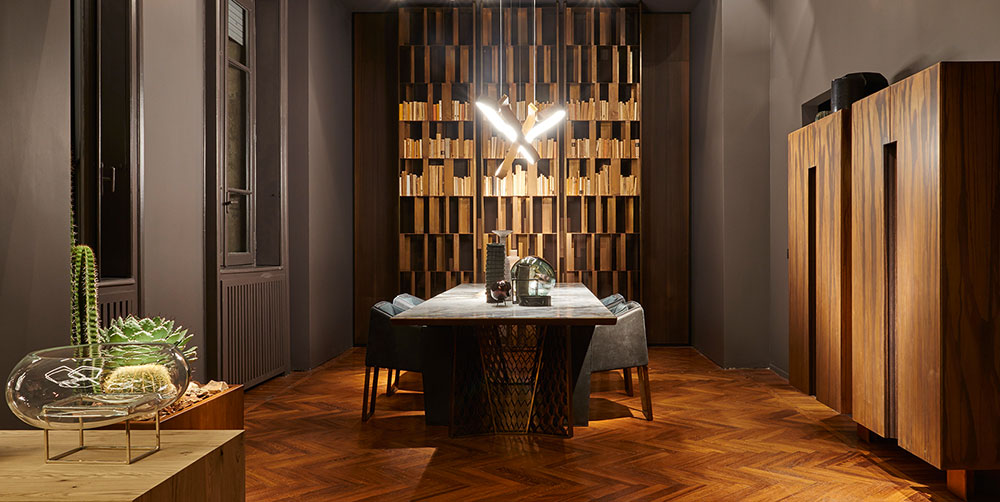 henge los angeles showroom among the Italian furniture stores in los angeles displays a beautiful dining corner