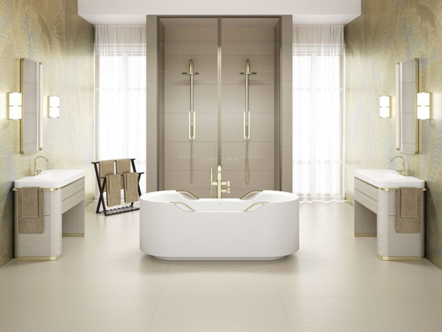 armani baia bathtub part of armani bathroom collection in a luxury Italian bathroom with champagne shower faucets