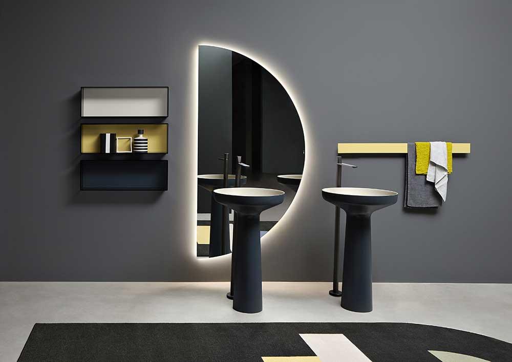 spicchio mirror by antonio lupi bathroom in a luxury Italian bathroom ambience