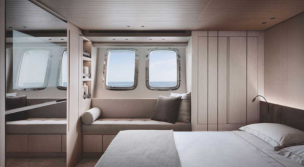alpi wooden decoration used in a bespoke Italian furniture project for sanlorenzo yacht