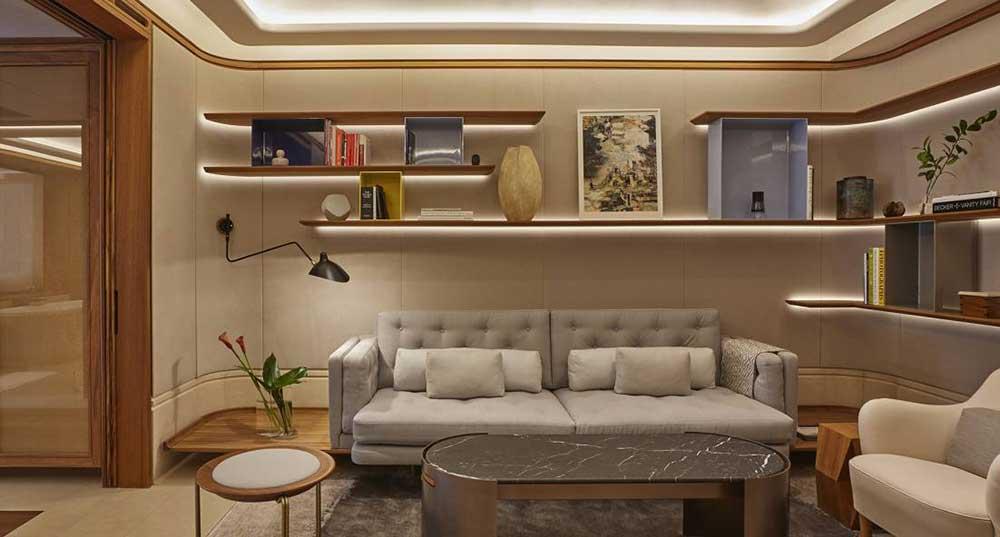 high end Italian furniture from b&b Italia with a custom Italian wall panelling