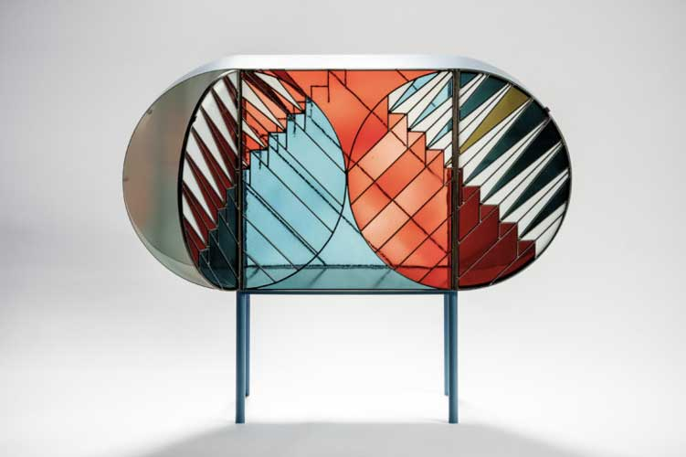 credenza sideboard designed by Patricia Urquiola using stained glass on sale at esperiri Milano