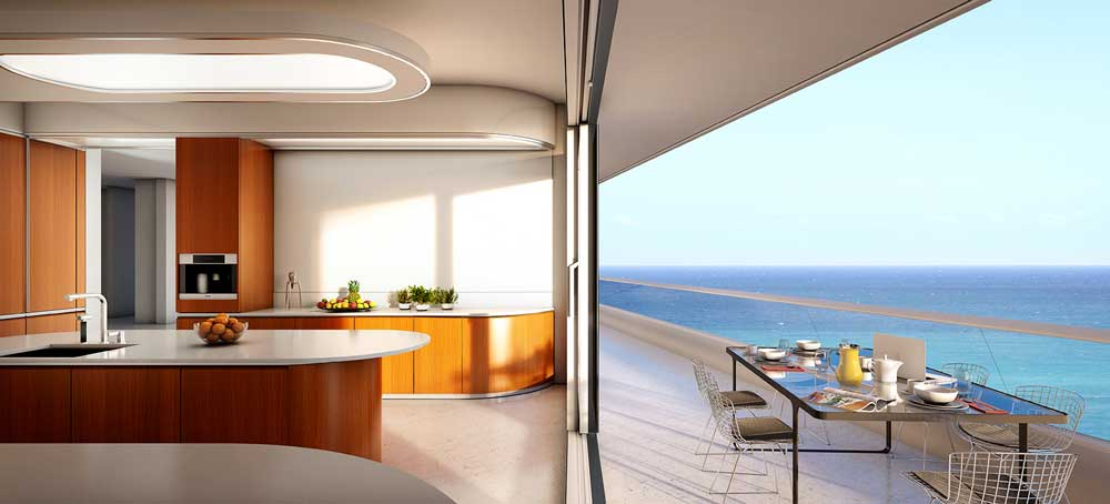 bespoke Italian furniture example of a dada kitchen for a miami apartment overlooking the ocean