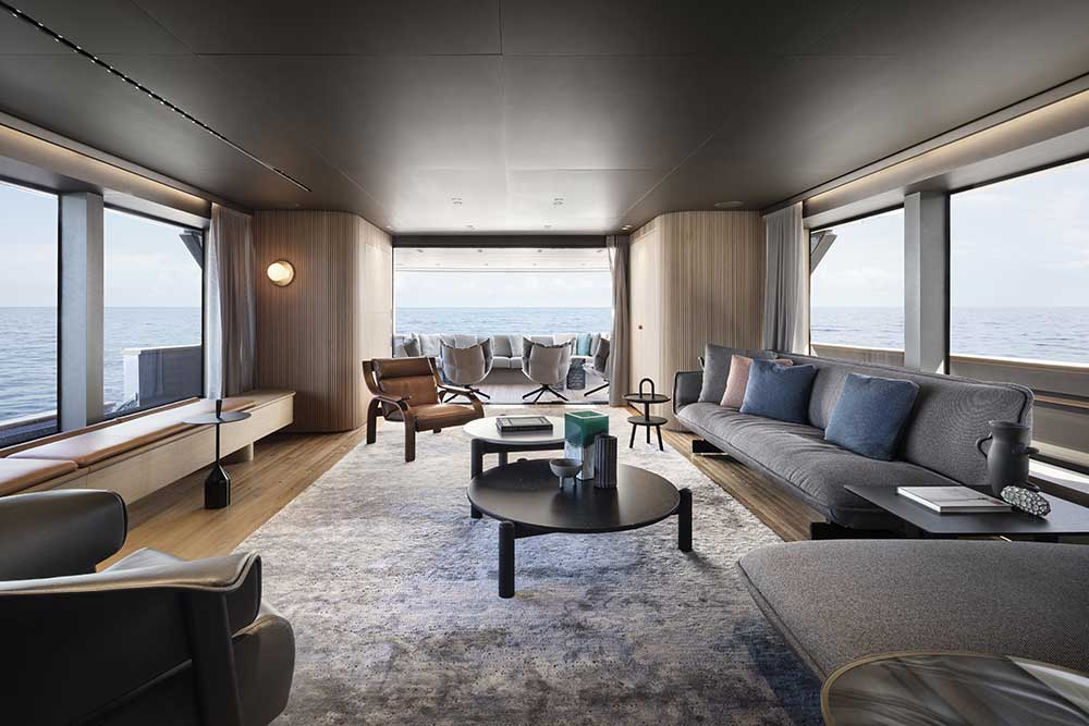 bespoke Italian furniture for yacht interiors design by Patricia urquiola for sanlorenzo yacht