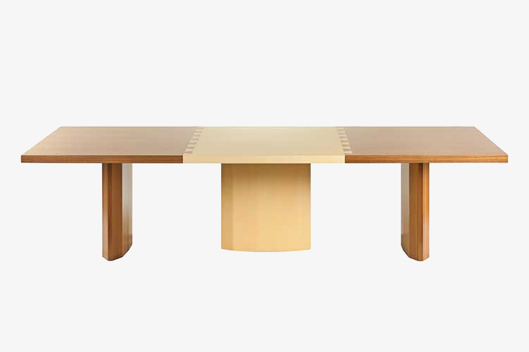 bespoke Italian furniture dining table with inlay of two different type of woods