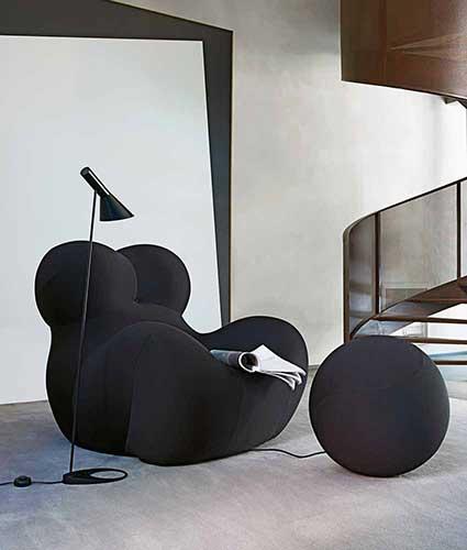 b&b italia up chair in fabric colour black