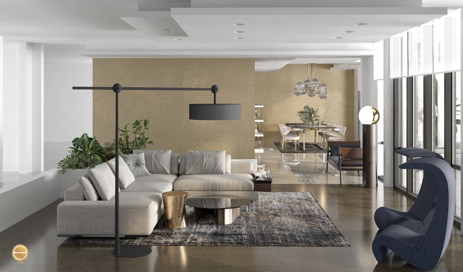 luxury living room and dining room as open space furnished with Italian furniture in an interior design jeddah project developed by Italian interior designers