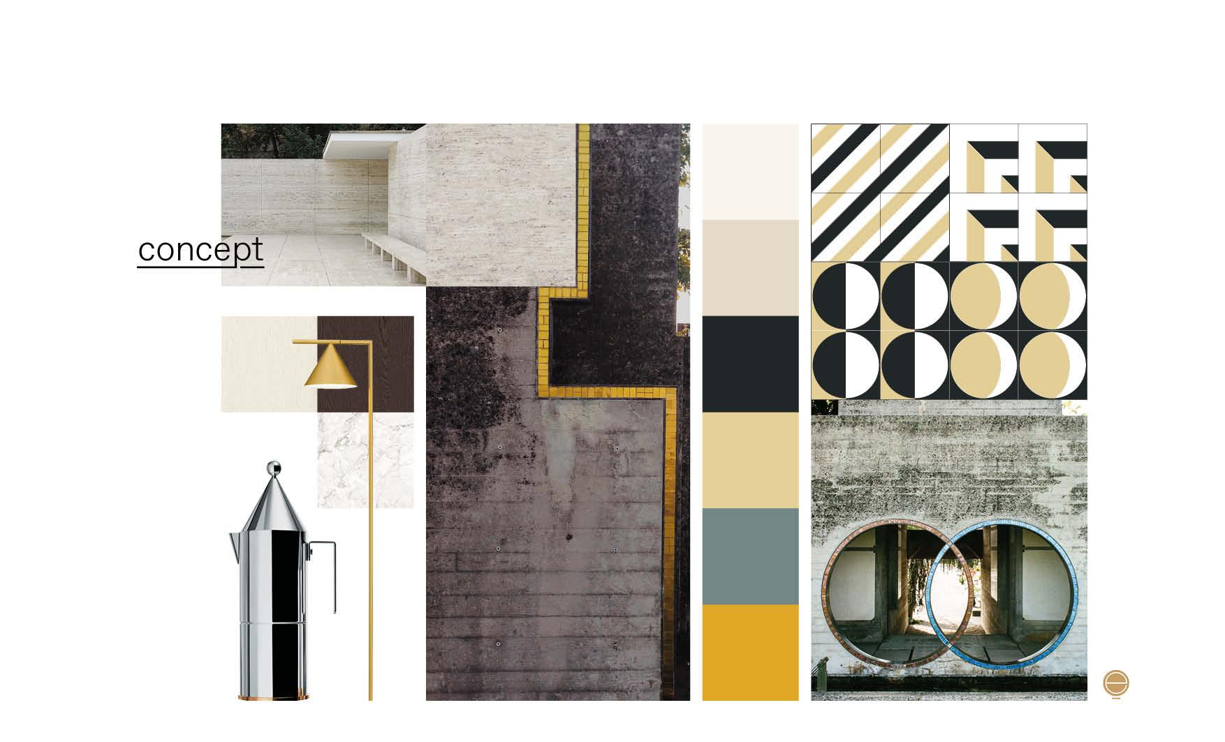 modern Italian living room concept moodboard designed by Esperiri Milano