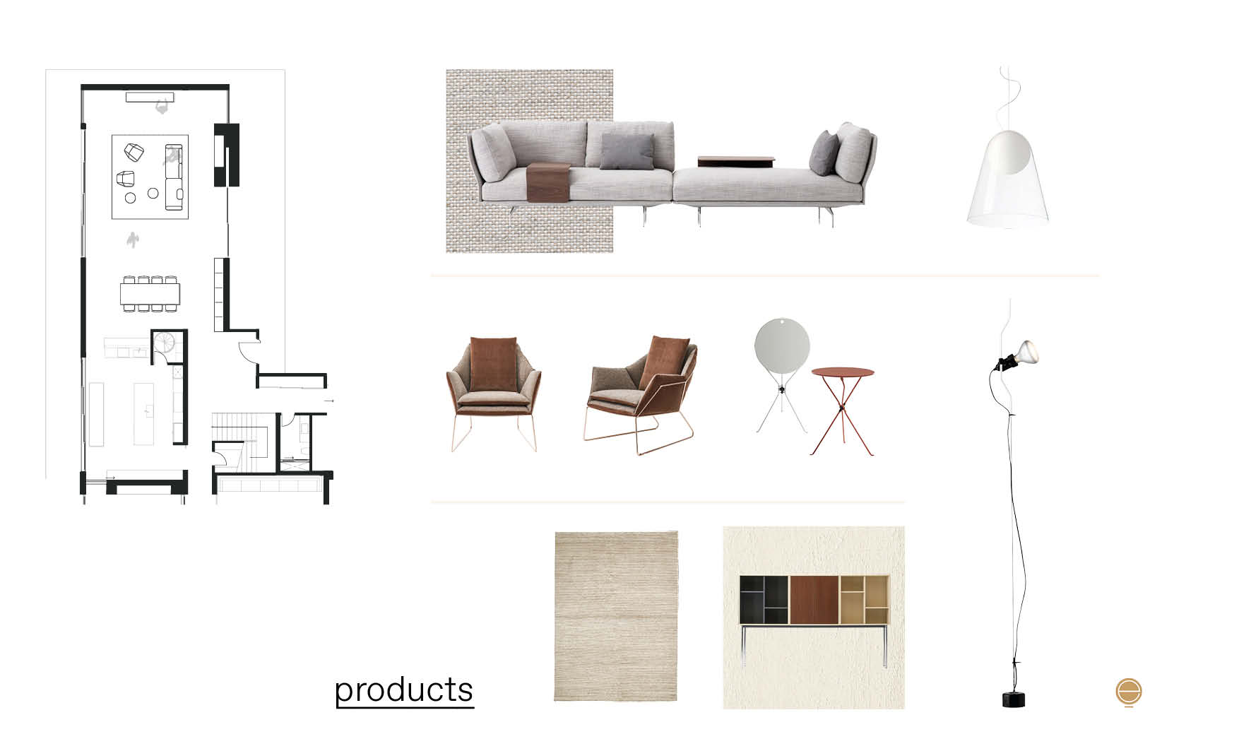modern Italian living room furniture moodboard design by esperiri milano