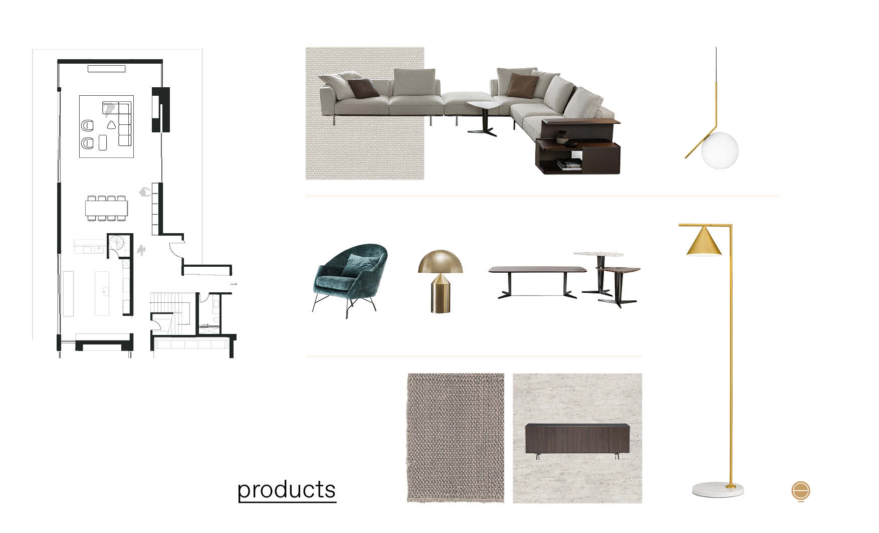 modern Italian living room furniture moodboard with medium priced Italian furniture pieces design by esperiri milano