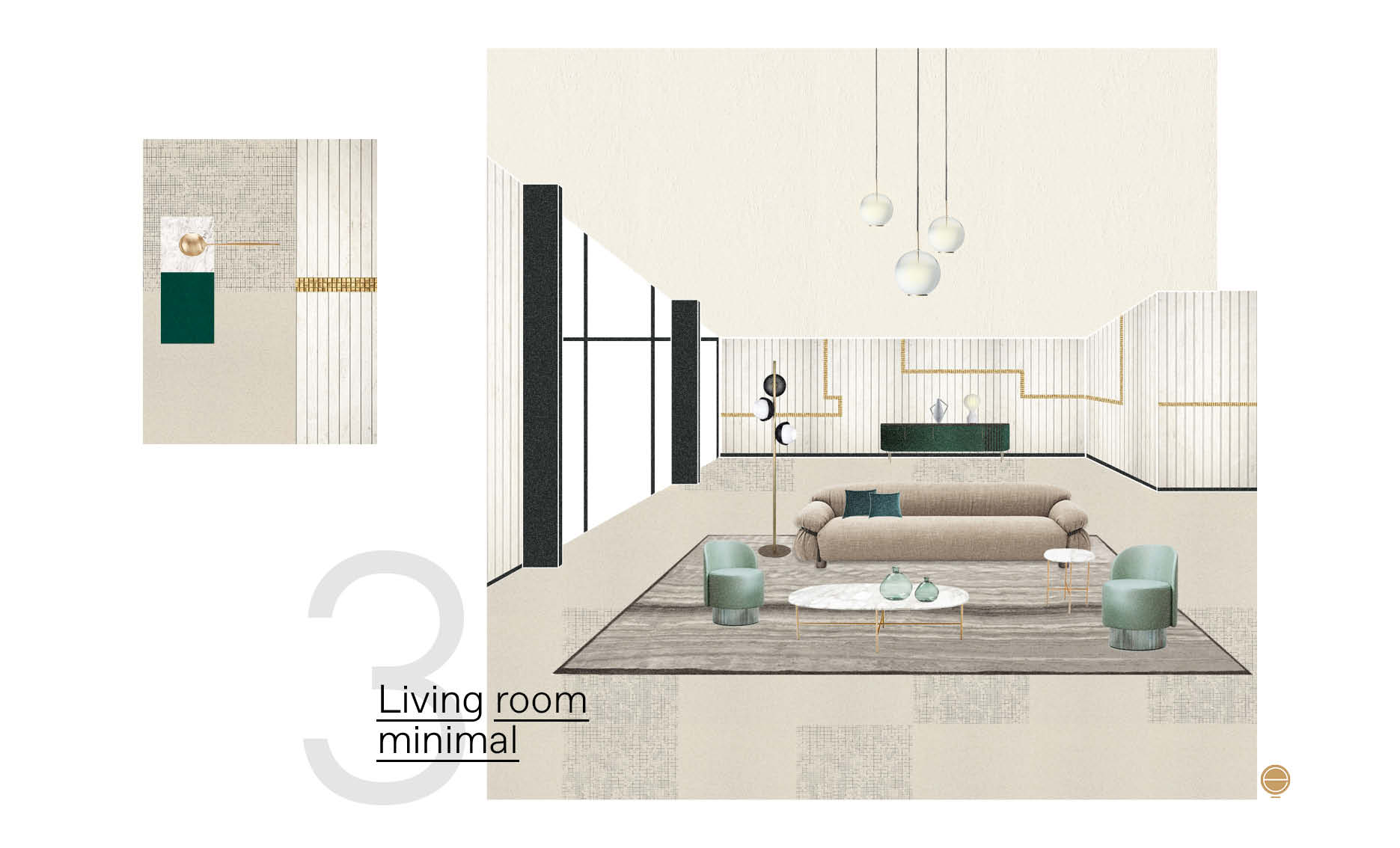 modern Italian living room material moodboard and perspective design high-end solution by Esperiri Milano