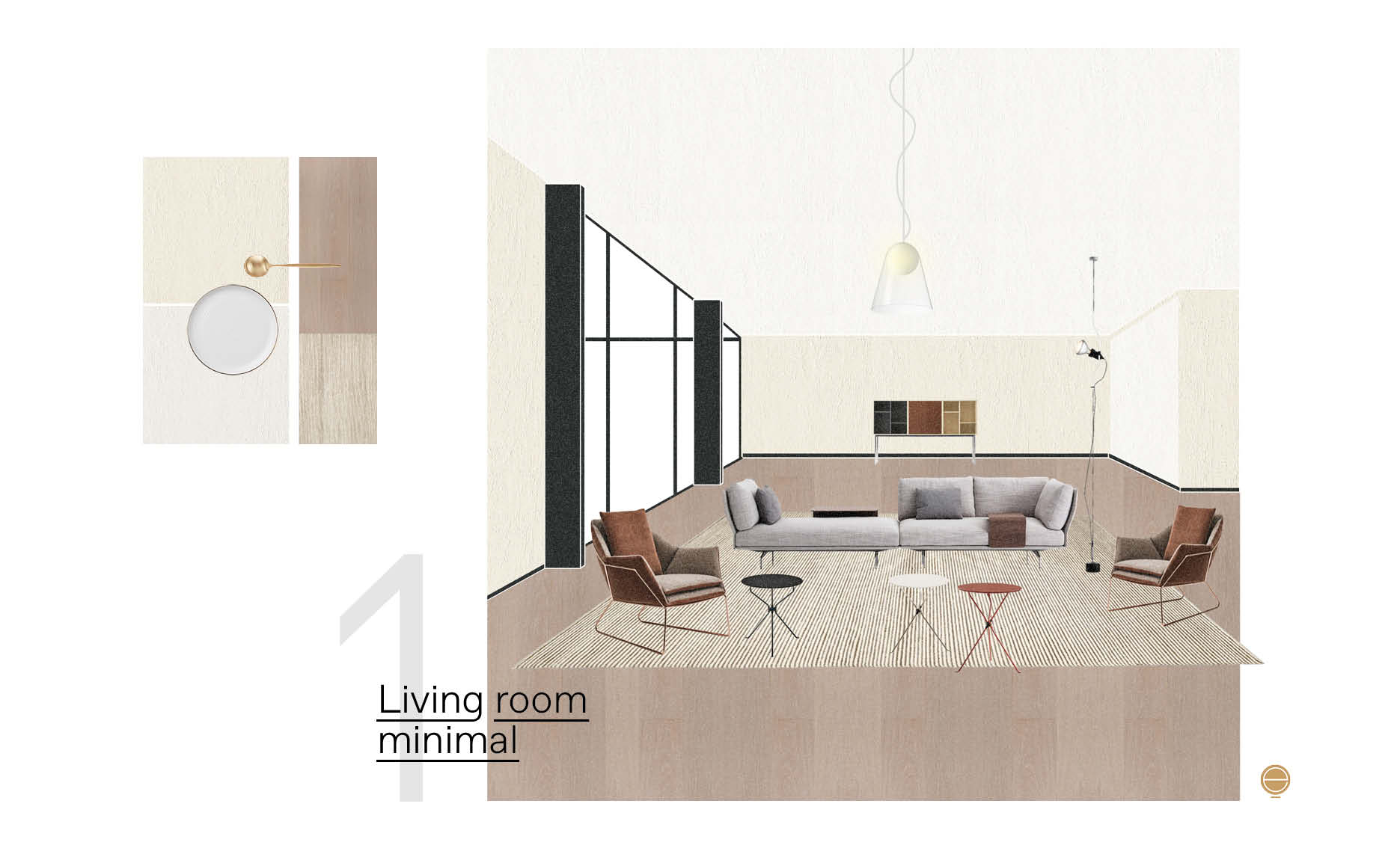 modern Italian living room material moodboard and perspective design by Esperiri Milano