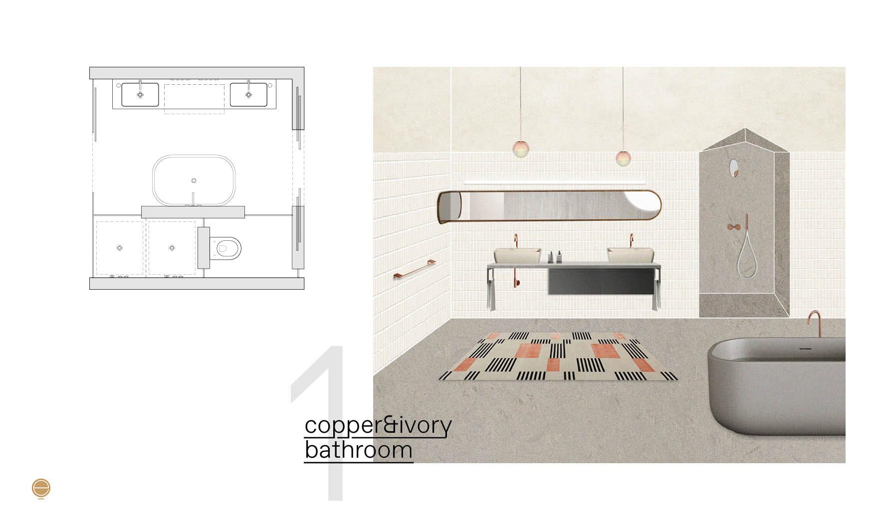 Modern Italian bathroom perspective in copper&ivory version and plan design by Esperiri Milano