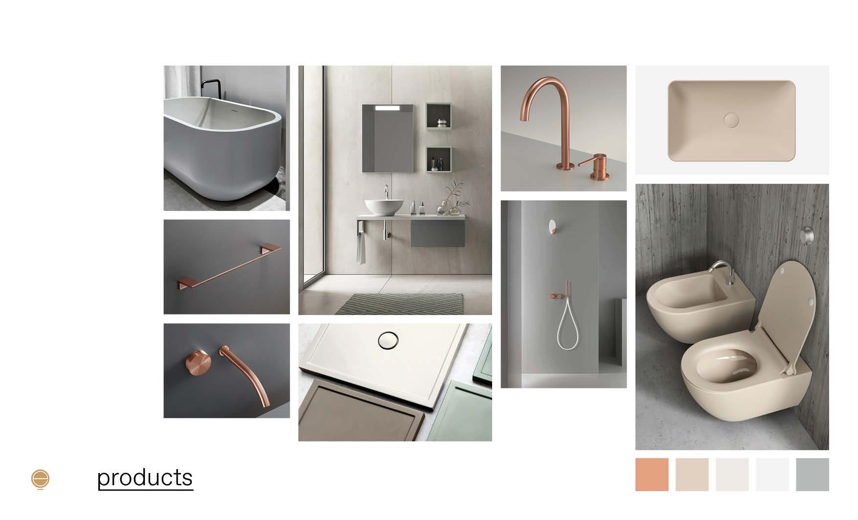 copper&ivory contemporary Italian bathroom furniture moodboard design by Esperiri Milano
