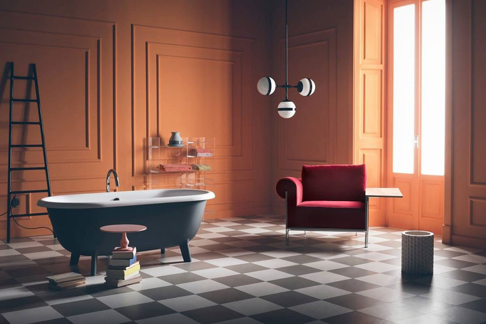 ottocento bathtub by agape with peggy futura lamp by vistosi part of esperiri milano eclectic Italian furniture selection