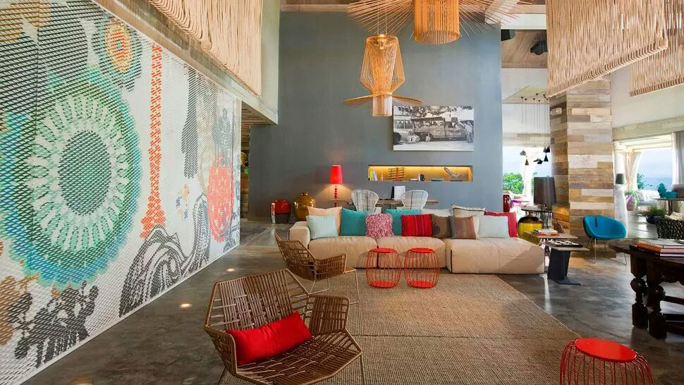 living room with colourful eclectic interiors