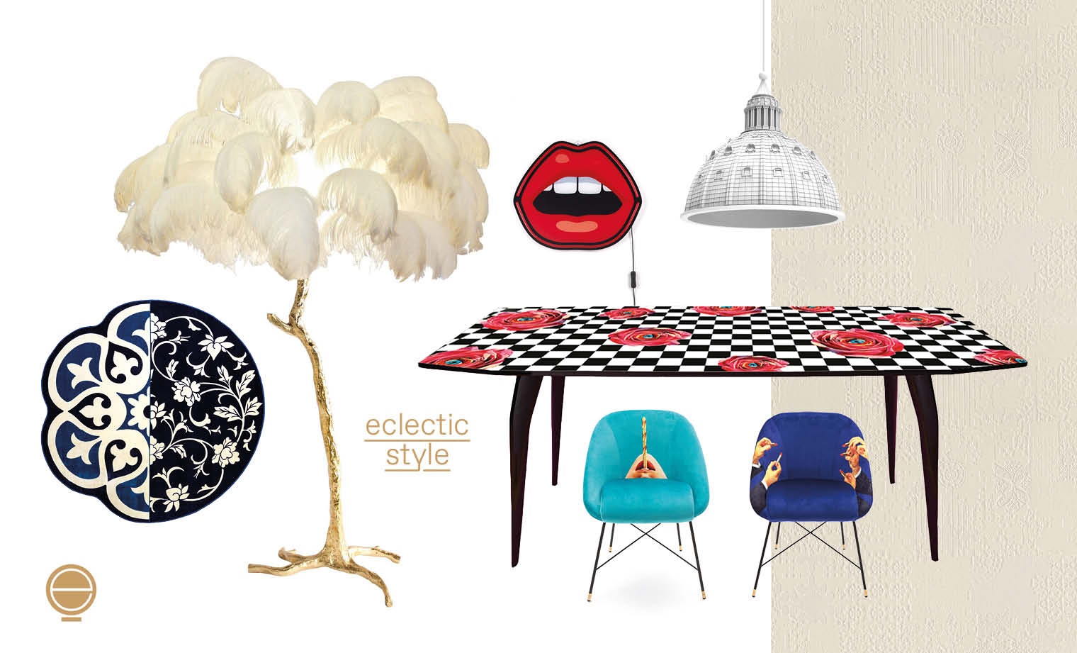 eclectic style moodboard and composition of high end furniture in Singapore