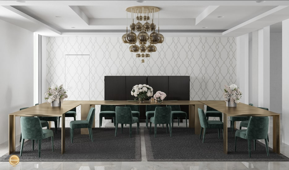 luxury formal dining room with Italian furniture such as the metallico table by porro for an interior design jeddah project design