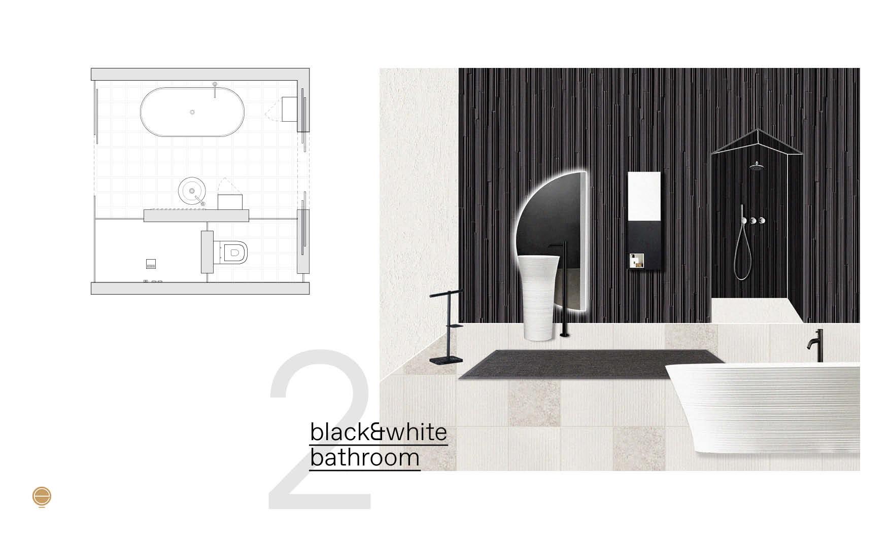 Modern Italian bathroom perspective in black&white version and plan design by Esperiri Milano