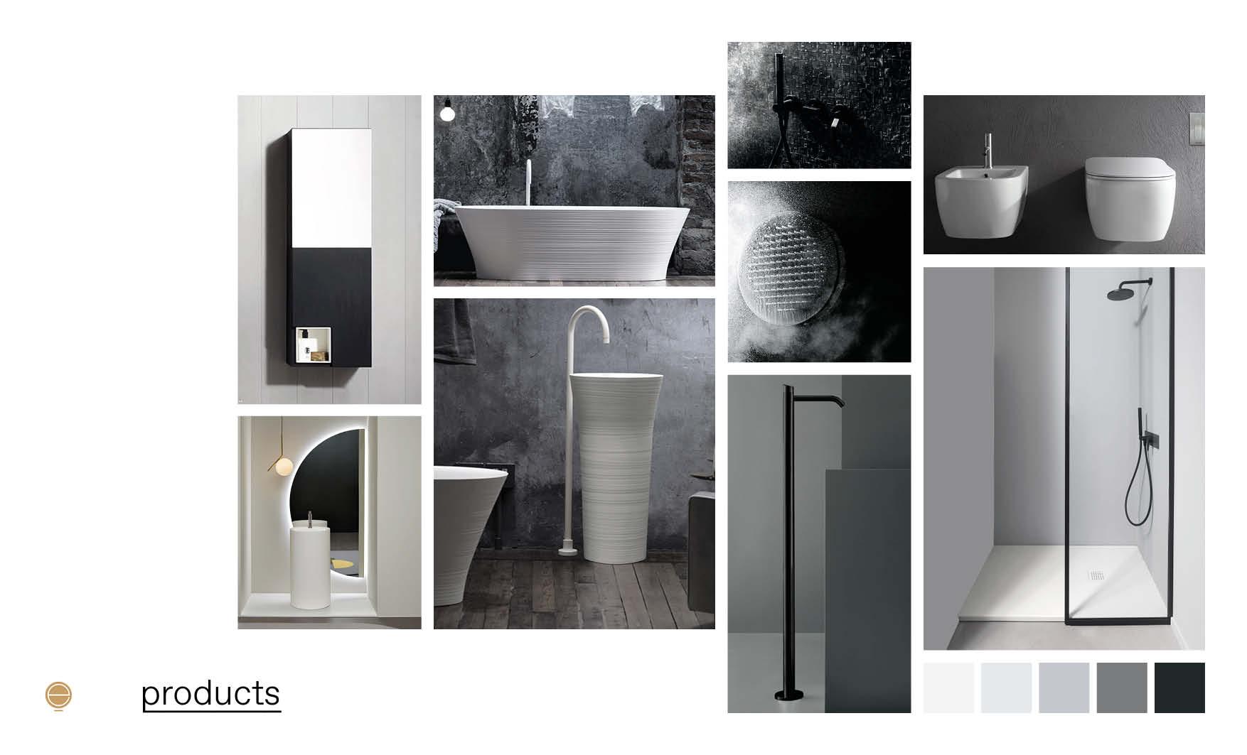 black&white contemporary Italian bathroom furniture moodboard design by Esperiri Milano