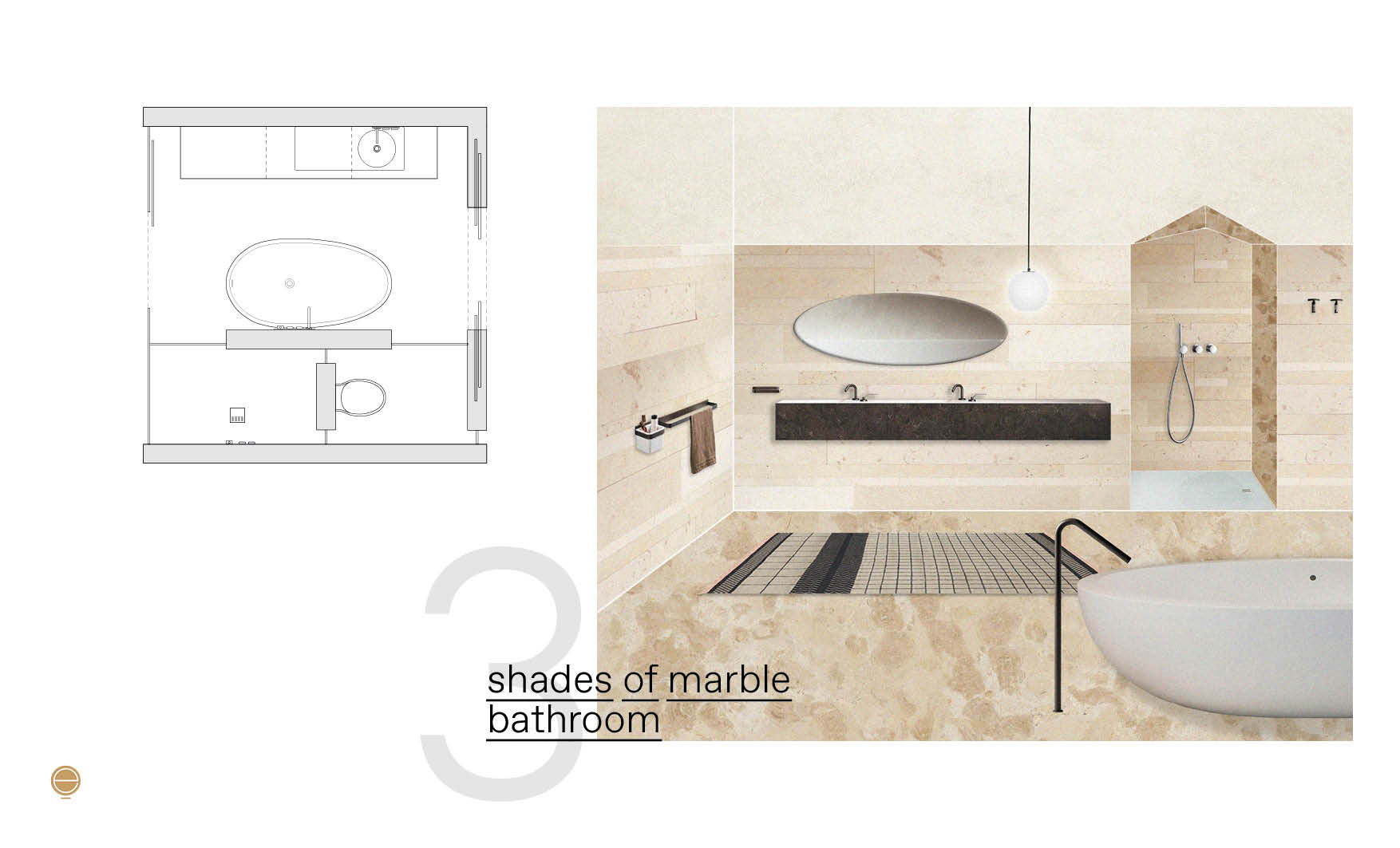 Modern Italian bathroom perspective in shades of marble version and plan design by Esperiri Milano