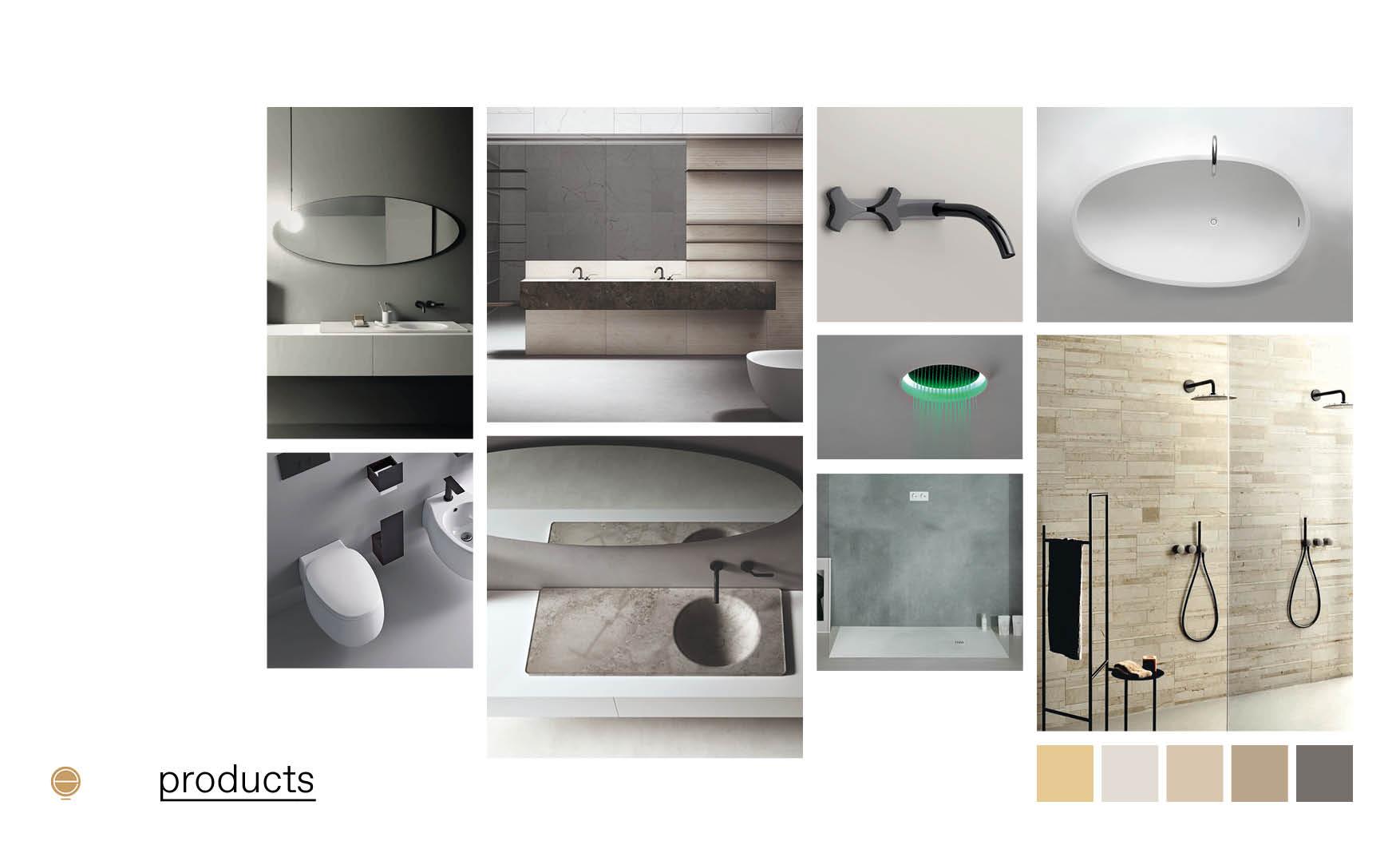 Contemporary Italian bathroom furniture moodboard design by Esperiri Milano