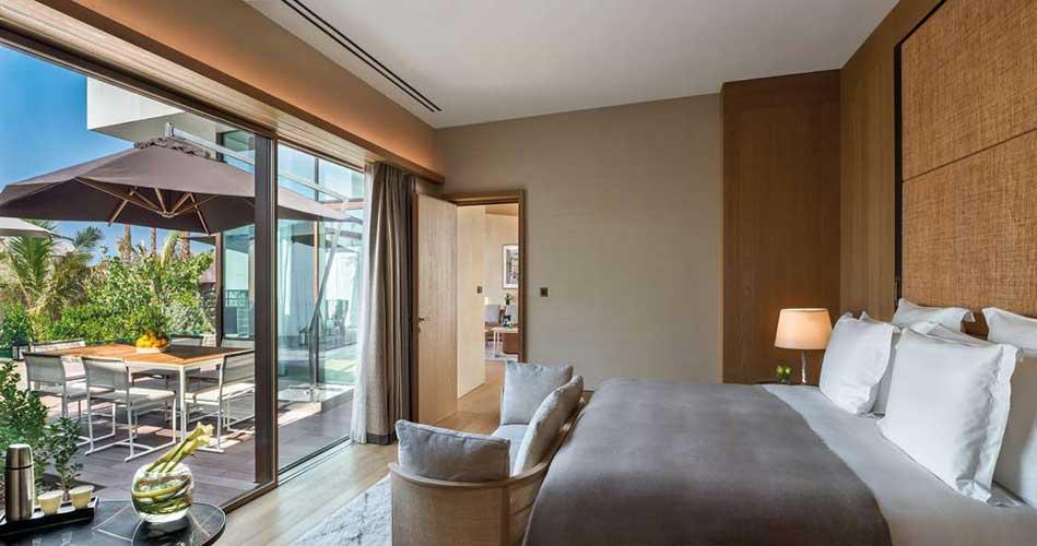 bedroom of the bulgari resort in dubai designed by Antonio Citterio showcasing Italian interior design in Dubai