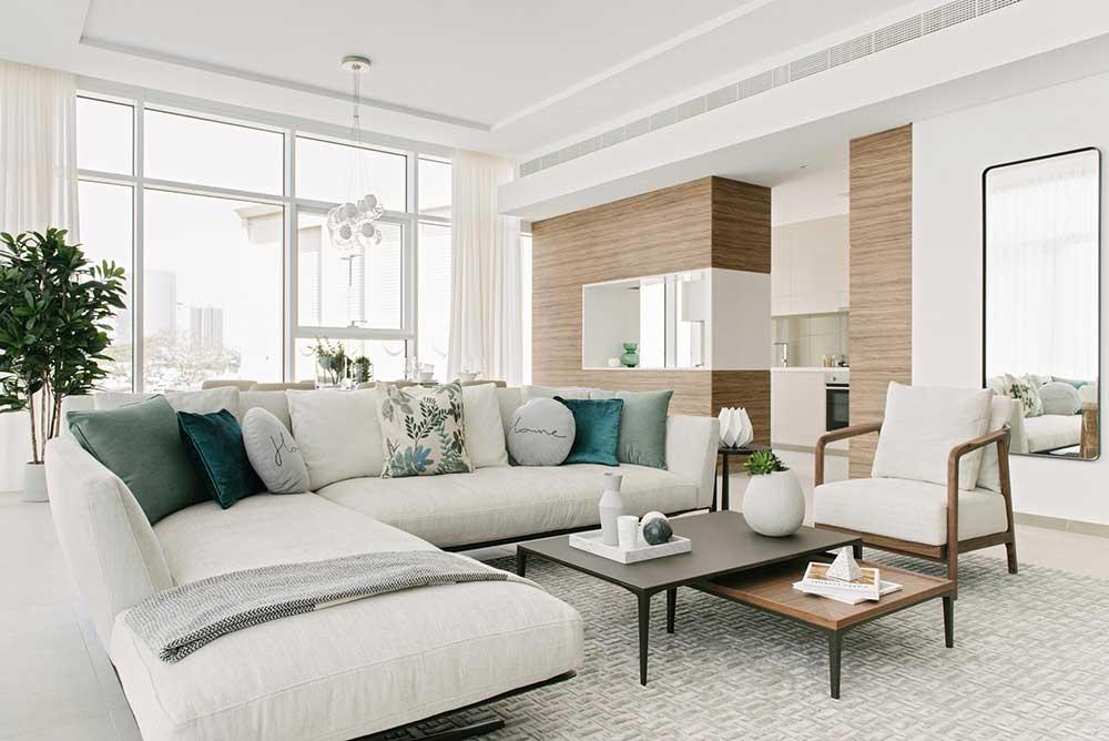 flexform sofa in a contemporary living room designed by one of the best interior designer in Dubai