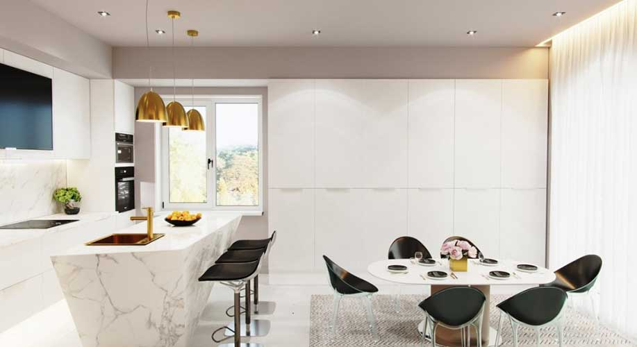 contemporary kitchen designed by one of the top 10 interior design companies in Dubai