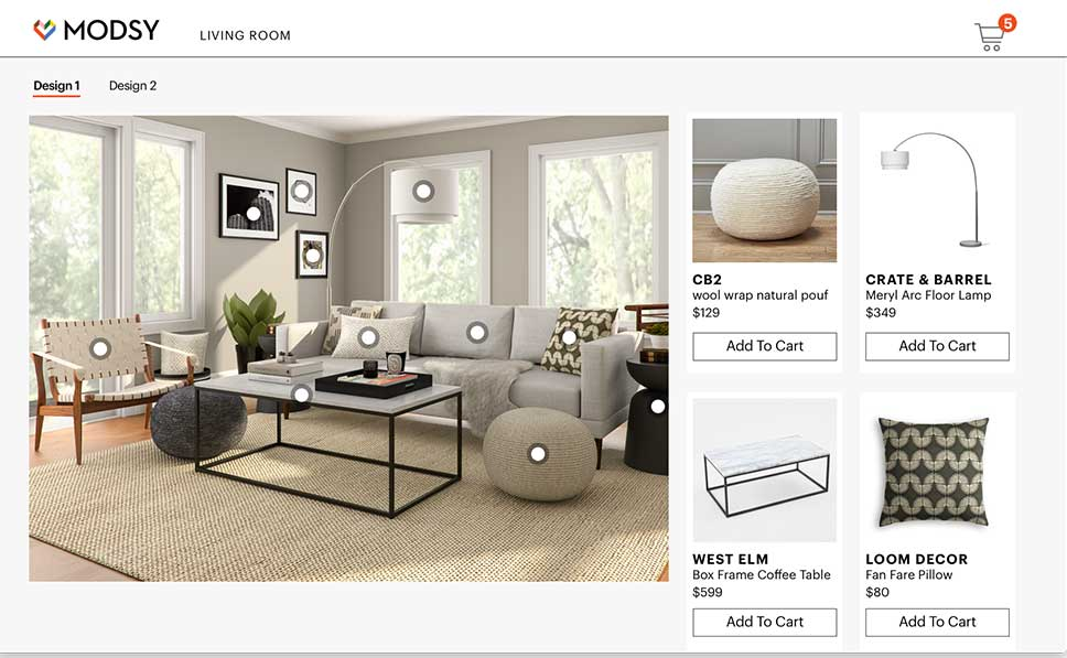 shopping list by modsy one of the best online interior designer