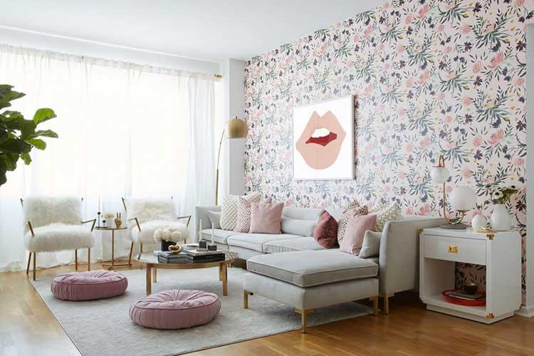 modern floreal living room designed by the best online interior designers